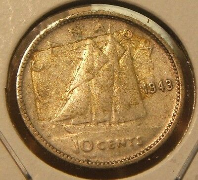 1943~~Canadian 10-Cent Piece~~Silver~~Canada