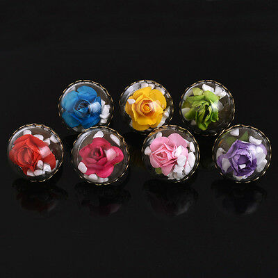 Retro Jewelry Dry Dried Flower Glass Ball Bronzed Party Rings Women Adjustable