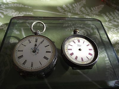 2 antique solid silver pocket watches