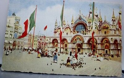 Italy Venice St Mark Church Orologio Tower Postcard Old Vintage Card View Post