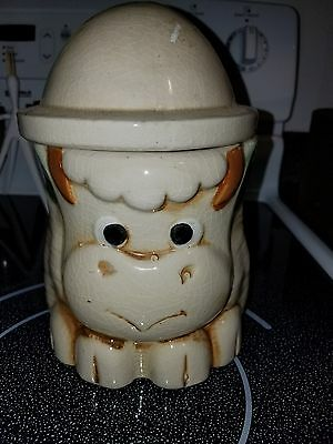 Vintage Feather Hat BULL Cookie Jar Very Cute Cow Pottery Piece EUC!