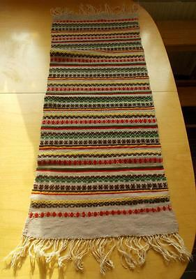 Swedish hand-woven Skane wool tablerunner with traditional pattern, fringes