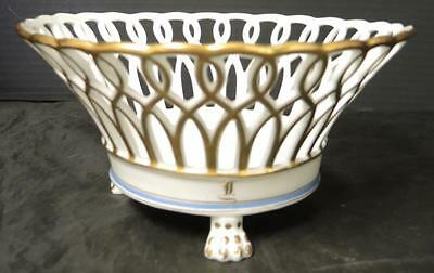 19th Century Old Paris Reticulated Centerpiece Fruit Basket Bowl