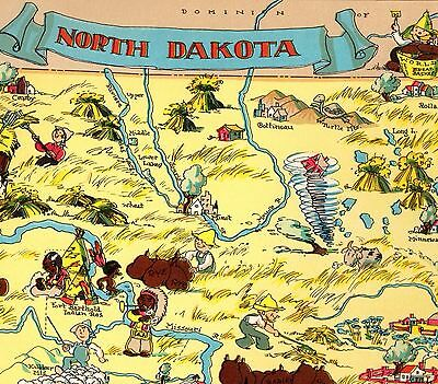 1935 RARE Antique NORTH DAKOTA State Map Animated Ruth Taylor Map RTW 3942