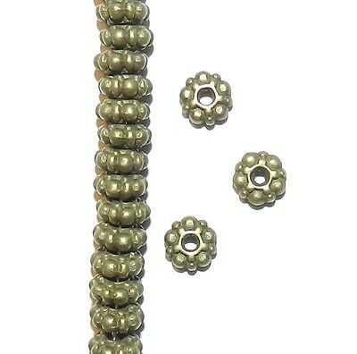 MB921p Antiqued Bronze 6mm Dotted Rondelle Metal Spacer Beads 50pc