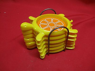 Vintage 1970's Yellow Turtle Coaster Set (6) With Wire Holder
