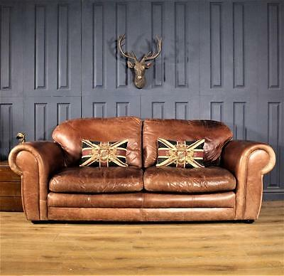 Leather 3 Seater Sofa Victorian Cigar club Suite tan Chair Vintage Chesterfield