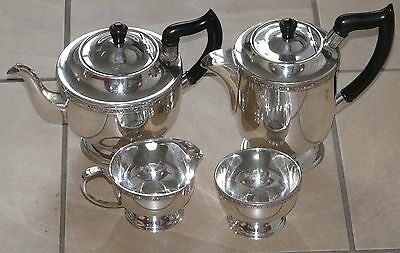 Viners 20th Century Tea Set 4 Piece Silver Plated Super Condition