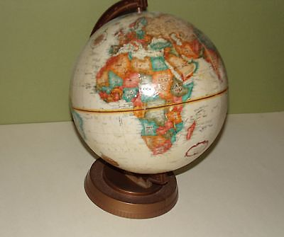 "Vintage Spinning GLOBE World Map Desk Tabletop 9"" Diameter 12"" high"