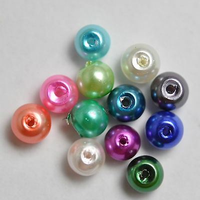 200pcs Mixed color Charm Glass Pearl Round Loose Spacer Beads 4mm