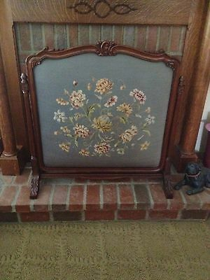 Antique Carved Solid Walnut Needle Point Fireplace Screen