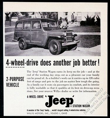 1955 Willys Jeep StatioN Wagon 4wd SUV photo vintage trade print ad