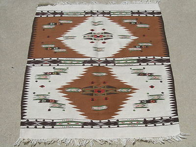 Antique Mexican / Hispanic Very Fine Weave Dbl Medallion Serapi Weaving 27x34""