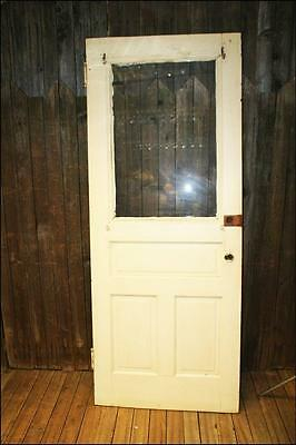 Vintage WOOD DOOR w window white wooden front glass architectural salvage SOLID!