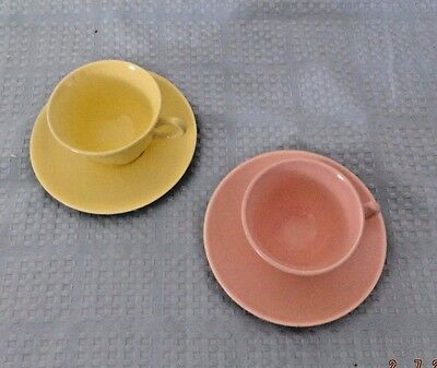 Lu Ray Pastels Taylor Smith & Taylor Cup and Saucer Sets, Yellow and Pink Pair