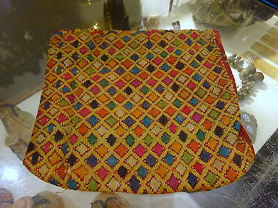Vintage Central Asia Weaved Embroidery Textile Pouch Purse