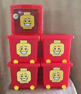 Lego Lot 4 Red Storage Bin Stacking Basket Tub Wheeled 21.5 qt Bucket Lid Cover