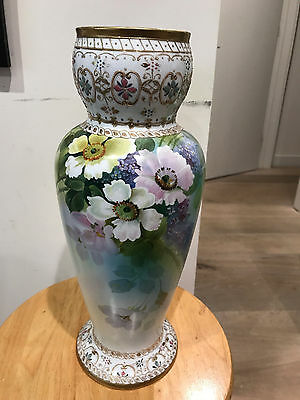 Nippon hand painted vase with flowers and gold beading VINTAGE RARE