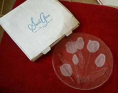 """L.E. Smith TULIPS 13"""" Platter - HANDMADE GLASS - USA made plate - RETIRED in BOX"""