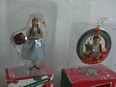Lot-2 Wizard Of Oz Warner Bros. Ornaments Dorothy Toto Rainbow Christmas Used