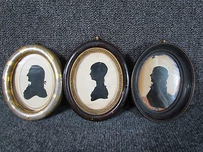 3 ANTIQUE  1800s PERIOD AMERICAN SILHOUETTES