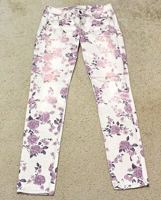 American Eagle Women's Size 6 Floral Skinny Jeans Pink Purple