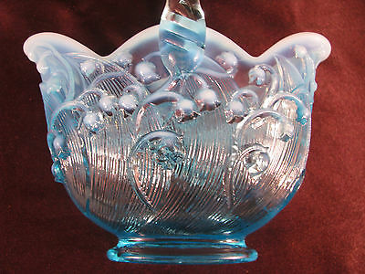 Beautiful Fenton Blue Opalescent Glass Lily of the Valley Oval Basket Exc Cond