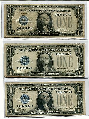 "1928,1928-A,1928-B   ""FUNNY BACK""  Silver Certificate  (3 Notes)"