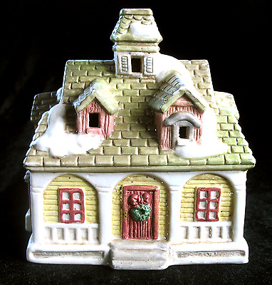 Vintage Ceramic Christmas Winter Snow Village House, Illuminated Holiday Display