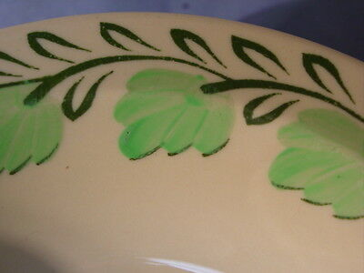 Vintage Syracuse China Adobe Ware Green Leaves Pattern Cereal Bowl