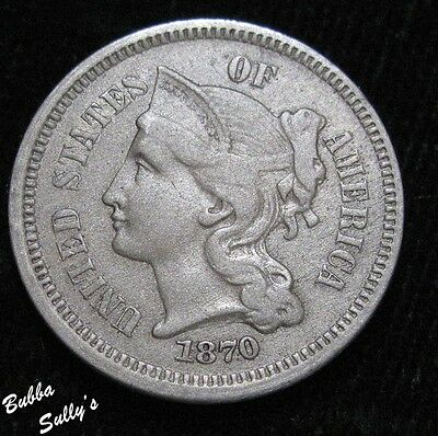 1870 III Cent Nickel <> EXTREMELY FINE
