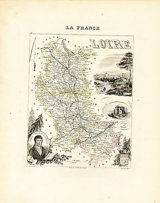 1869 Hand Colored Map of the LOIRE DEPARTMENT in FRANCE by Vuillemin