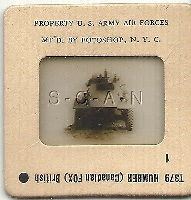 WWII US 35mm Recognition Slide Negative- Panzer- UK Humber AC Tank- Canadian Fox