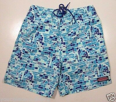 Vineyard Vines Boys Caribbean Blue Game Fish Mosaic Bungalow Print Swim Shorts