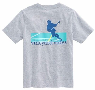 Vineyard Vines Boys S/S Gray Heather Lacrosse Game Graphic Pocket T-Shirt