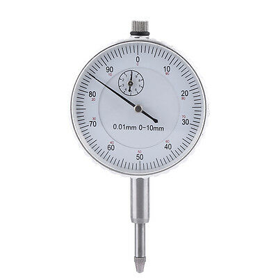 0.01mm Dial Indicator Metric 0-10mm Graduation Travel White Face Measuring Clock
