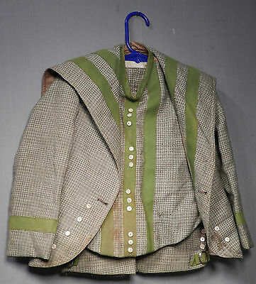 Antique Victorian Green Gray Hounds tooth Boys Suit Vest Short Pants Buckles