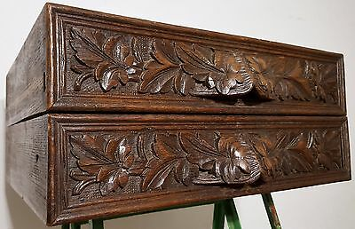 Matched Pair French Country Drawer Antique Carved Wood Salvaged Panel Pediment