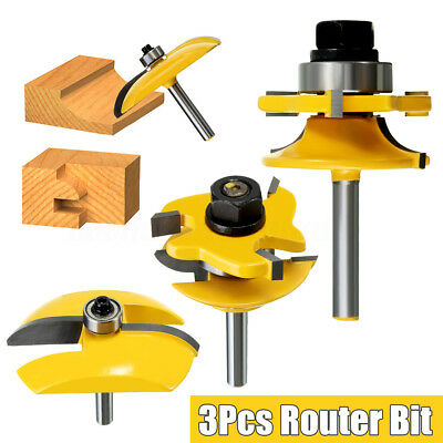 3Pcs 1/4'' Round Rail + Stile + Cove Raised Panel Ogee Cutter Router Bits Set