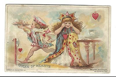 1894 Trade Card Woolson Spice Co Lion Coffee Toledo Ohio Queen Of Hearts