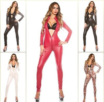 Sexy 2 Way Zip KouCla Highcollar Wetlook Lederlook Catsuit Overall