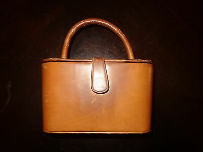 Vintage 1950's Theodor California Art Deco Tan Leather Handbag Clutch Purse