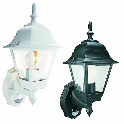 Black / White Byron 4 Panel Coach Lantern with PIR sensor Wall Porch Light IP44