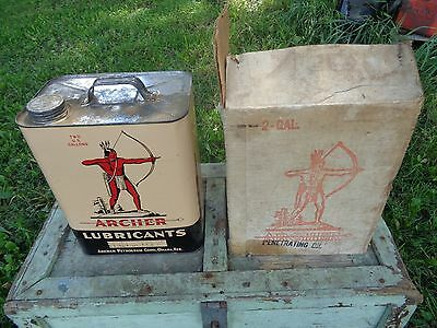ARCHER LUBRICANTS 2 GALLON CAN MOTOR OIL CAN WITH BOX!! - Original Vintage RARE