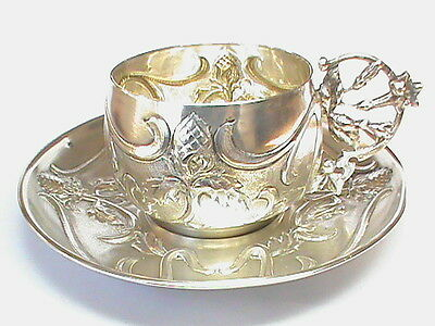 QUALITY Antique French solid silver Art Nouveau cup & saucer no2