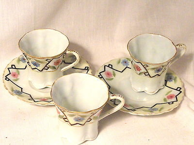 Eggshell Porcelain Nippon Chocolate Cups 3 and 2 Saucers Pre WWII