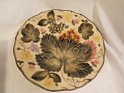Vintage Wedgwood Majolica Plate Strawberry Leaf Design AS IS Victorian