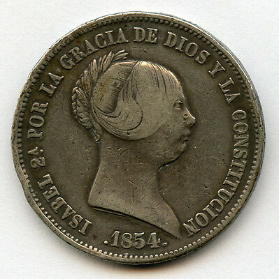 SPAIN 1854 Qn.ISABEL II 20 REALES SILVER CROWN NICE TONED CHOICE VF.