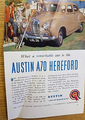 Austin A 70 Hereford Motoring Advertisement Print