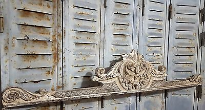 Shabby Carved Wood Pediment Antique French Architectural Salvage Crown Crest